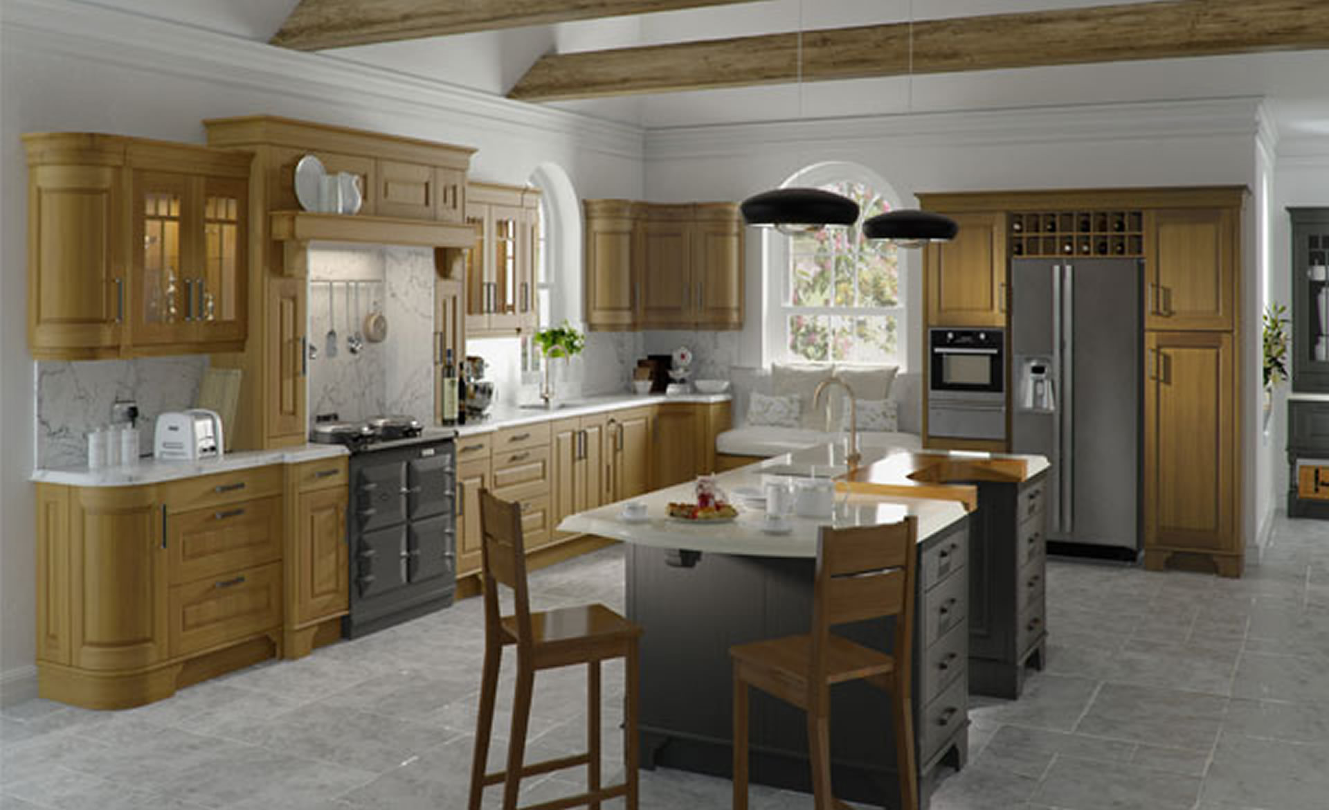 Kitchen Designs ? Dante Light Oak and painted Lava