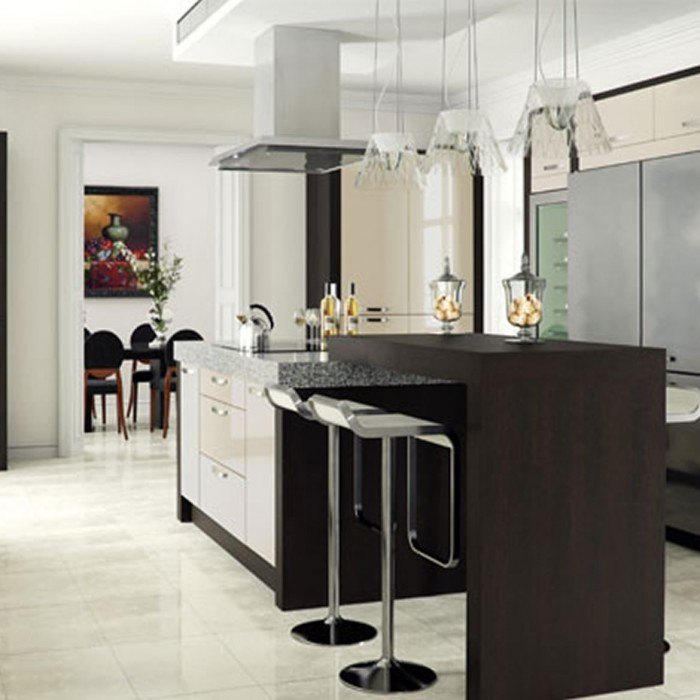 Kitchen Designs - Ultra High Gloss: Latte with Tavola Oak stained Black Brown Ferrera supplied by Superior Cabinets