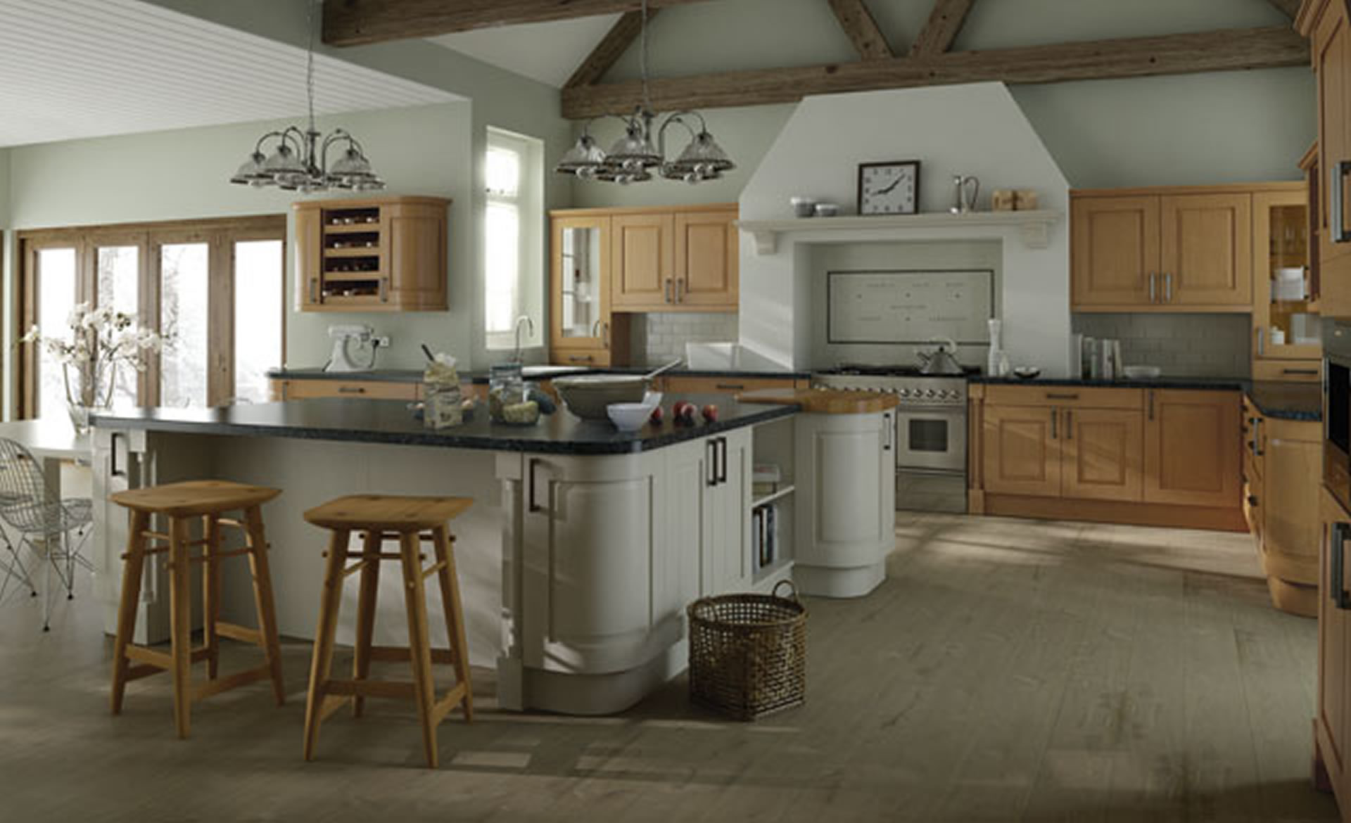 Kitchen Designs Windsor Classic: Oak And Ivory Supplied By Superior . Full resolution‎  image, nominally Width 1920 Height 1170 pixels, image with #604D32.