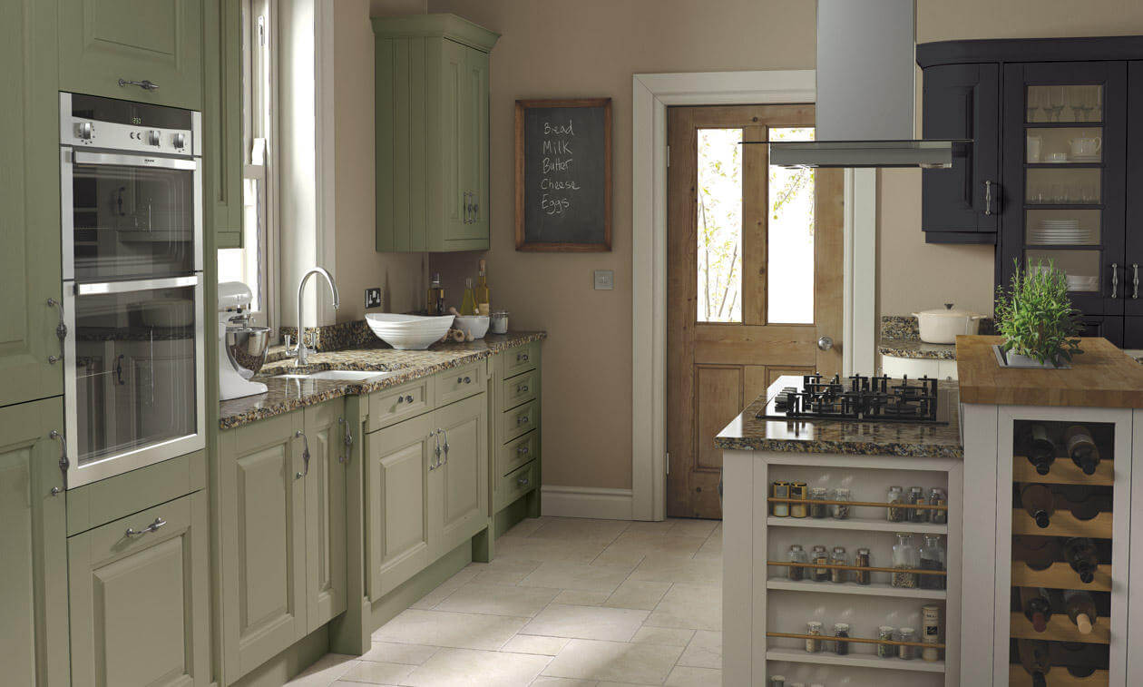 Coleridge's wide rails and grain detailing give this kitchen a sense of solidity. view 1