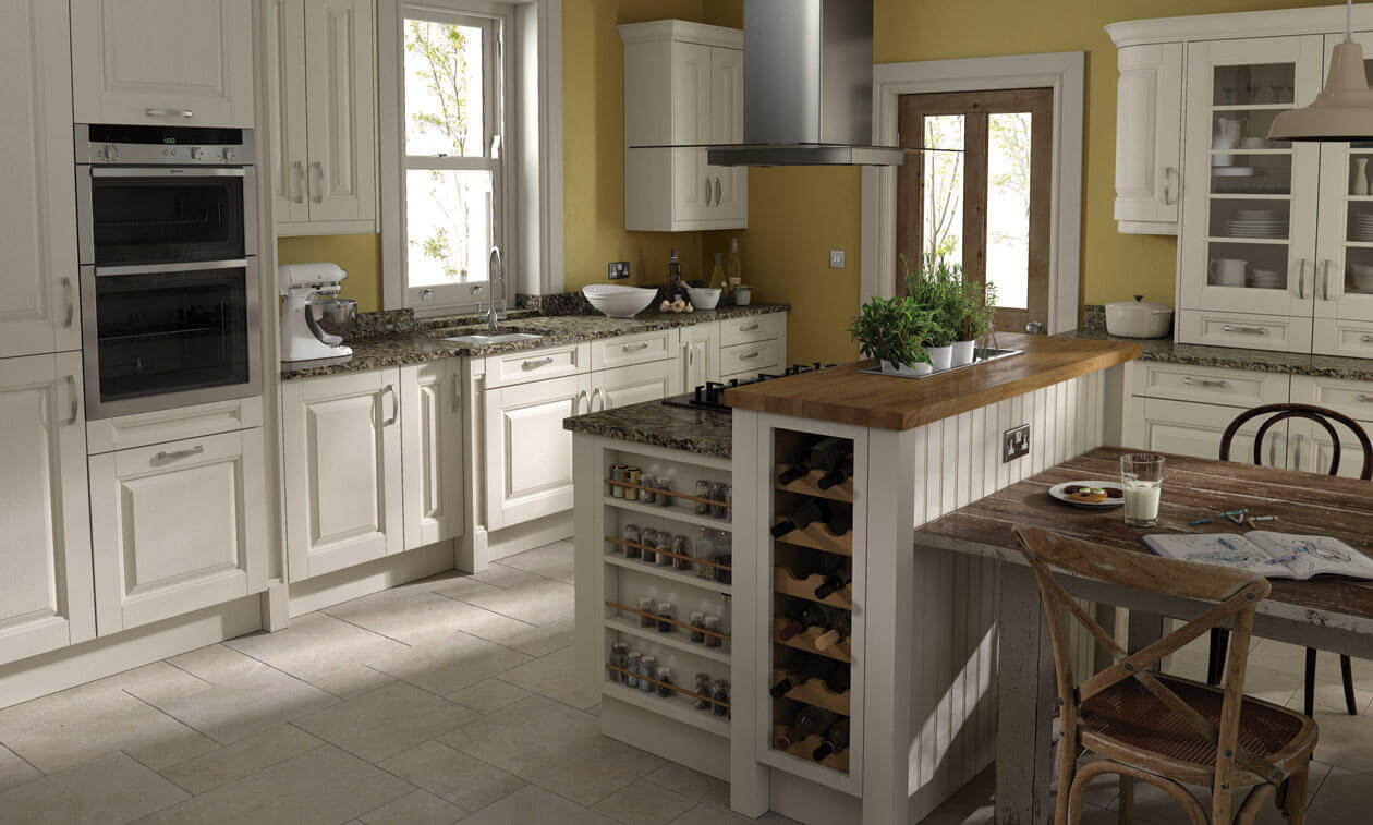 Coleridge's wide rails and grain detailing give this kitchen a sense of solidity. view 2