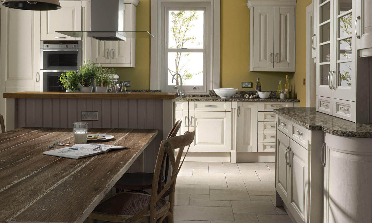 Coleridge's wide rails and grain detailing give this kitchen a sense of solidity. view 3